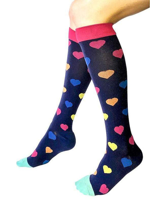 Healthy Sock Shop Compression Socks Compression Socks - Blue & Hearts