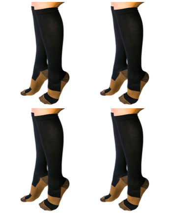 Healthy Sock Shop Compression Socks Copper Infused Compression Socks - Black - 4 x Pack