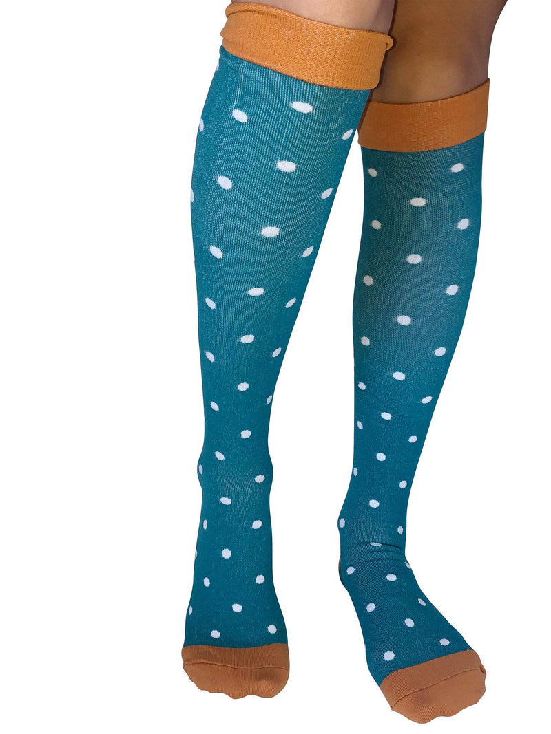 Healthy Sock Shop M Compression Socks 4 x Pair (Green Polka Dot)