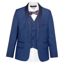 Boys Matte Navy Jacket With Satin Lapel