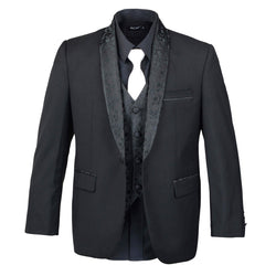 Boys Black Tuxedo With Embroidery Lapel