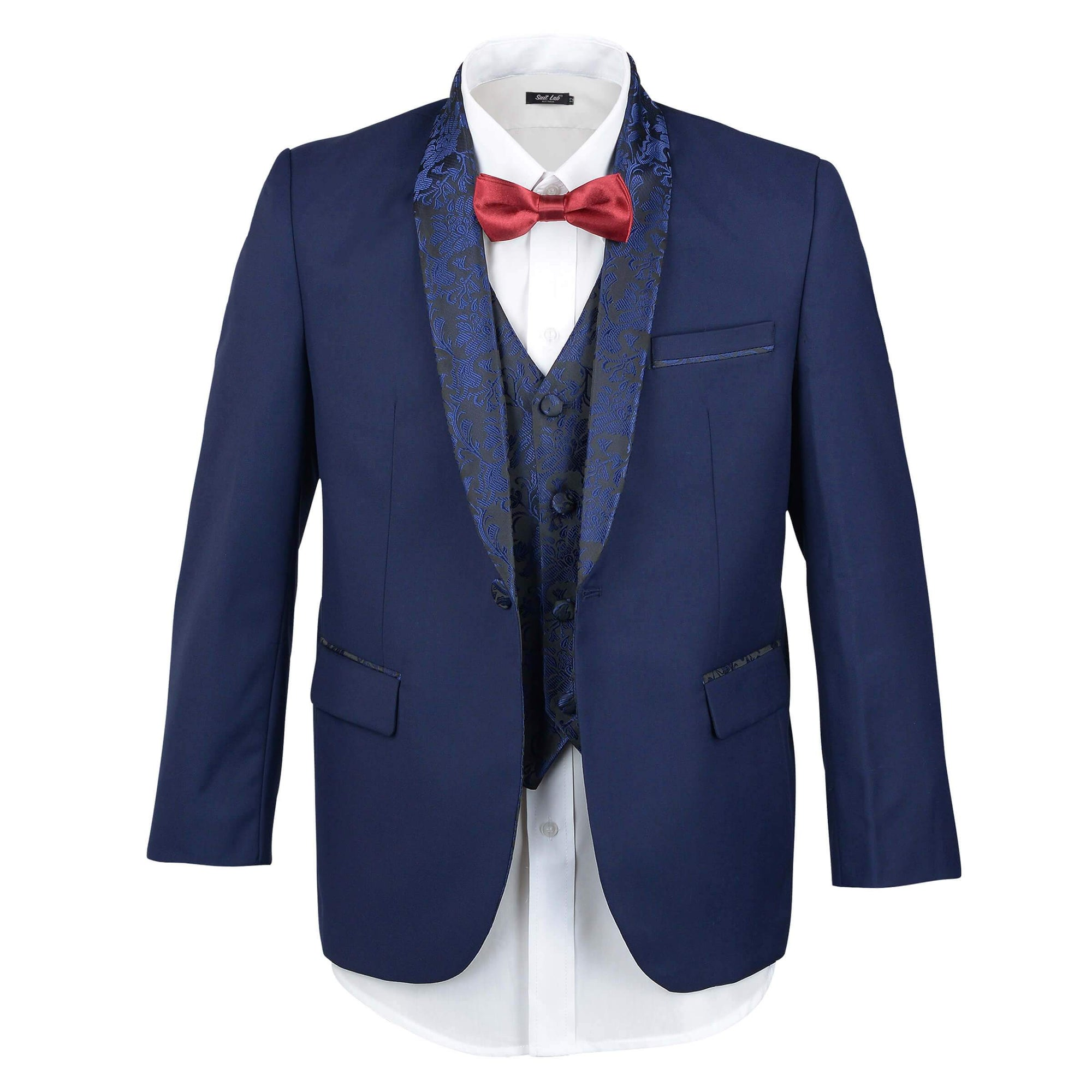 Boys Dark Navy Embroidery Shawl Lapel Tuxedo - SLIM FIT