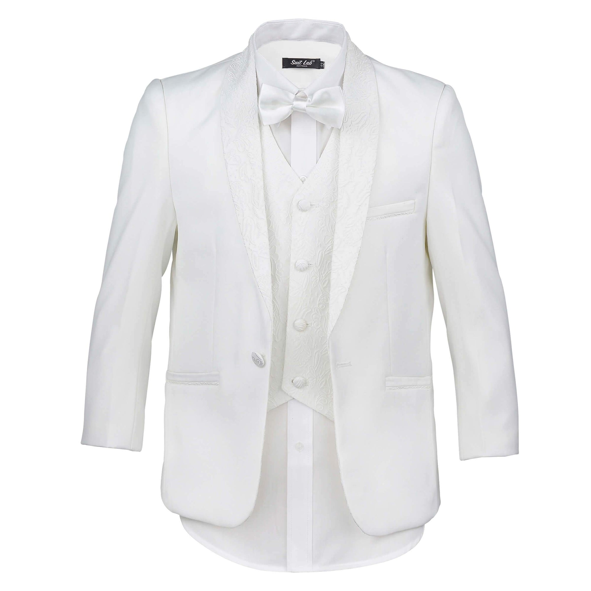 Boys Off White with Embroidery Shawl Lapel Tuxedo