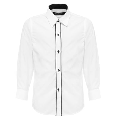 Boys White Formal Shirt with Black Piping Detail