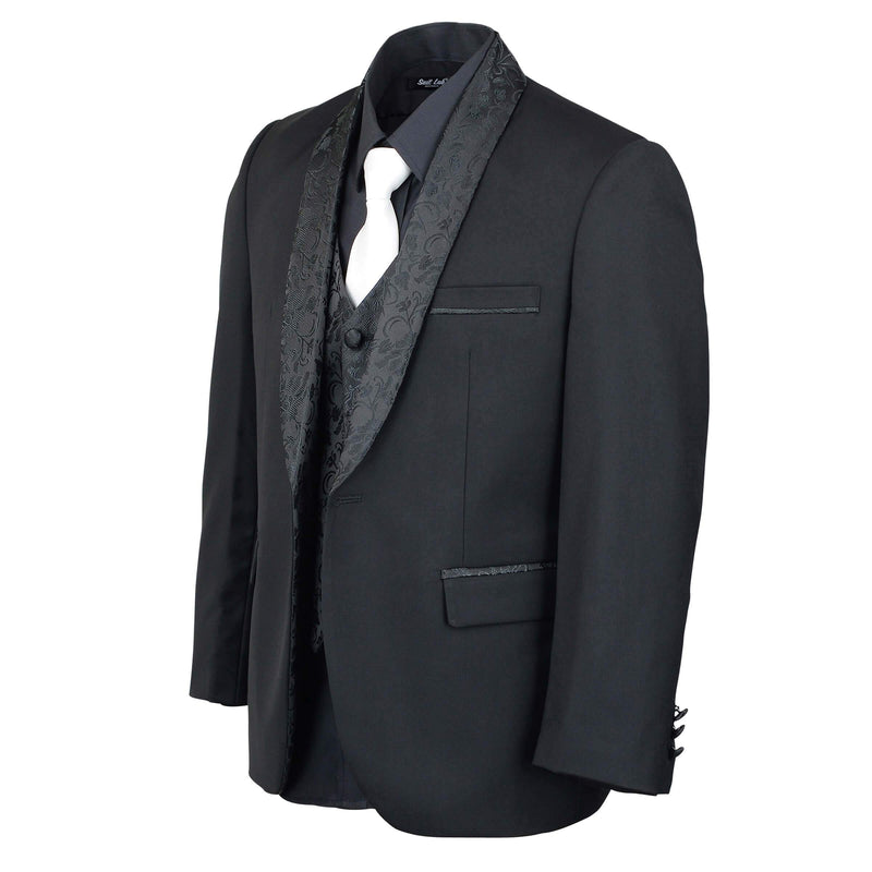 Boys Black Embroidery Shawl Lapel Tuxedo - SLIM FIT