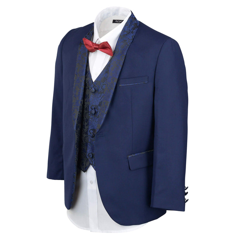 Boys Dark Navy Embroidery Shawl Lapel Tuxedo - SLIM FIT (Only Available in Store)