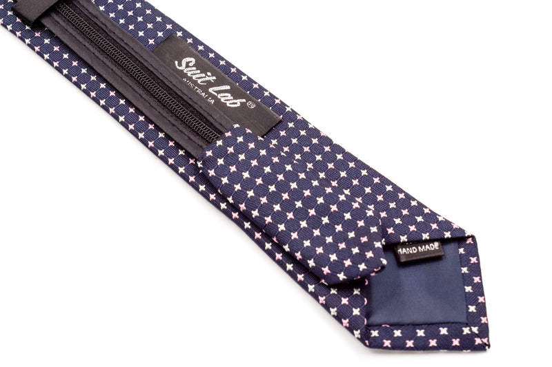 Boys Ties - Dark Navy/Pink Mutli Polka Dots