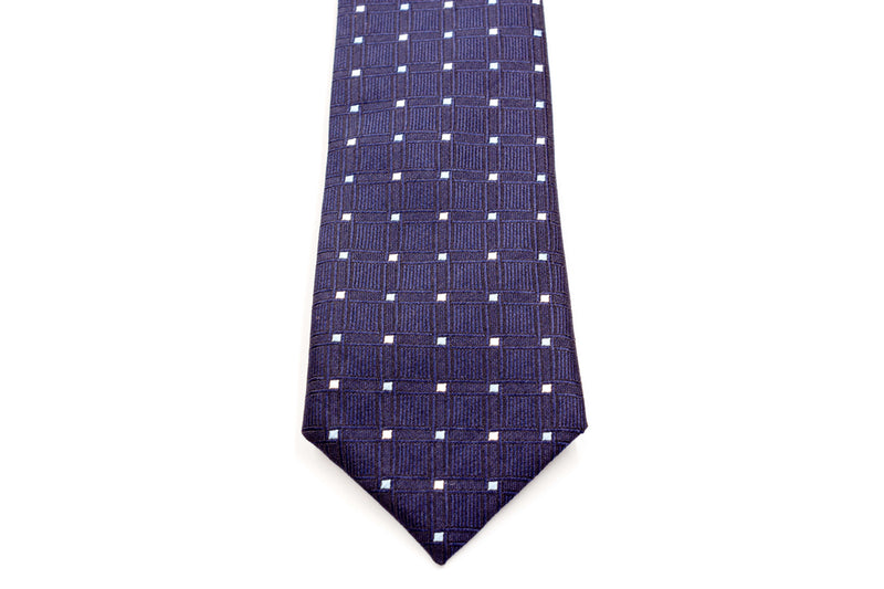 Boys Ties - Navy Mutli Polka Dots
