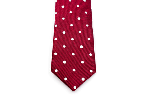 Boys Ties - Maroon Polka Dot