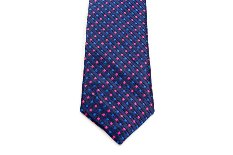 Boys Ties - Navy Blue Polka Dots