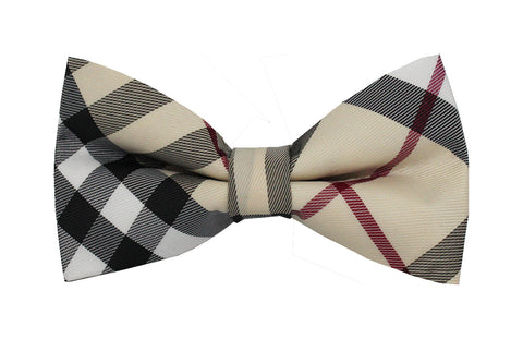 Boys Bow Tie - Cream Checkered
