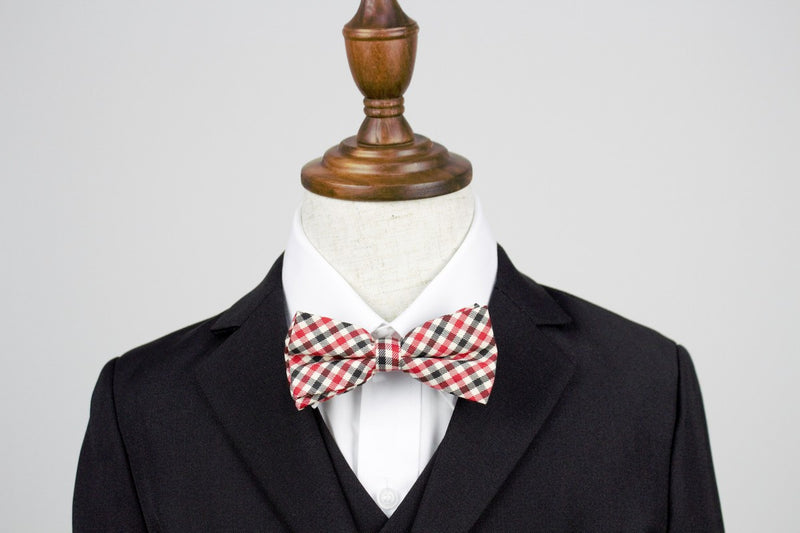 Boys Bow Tie - Red Checkered Vintage
