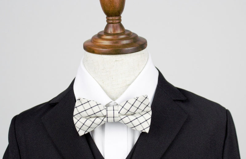 Boys Bow Tie - Ivory and Black Checkered