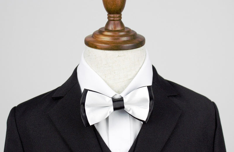 Boys Bow Tie - White and Black