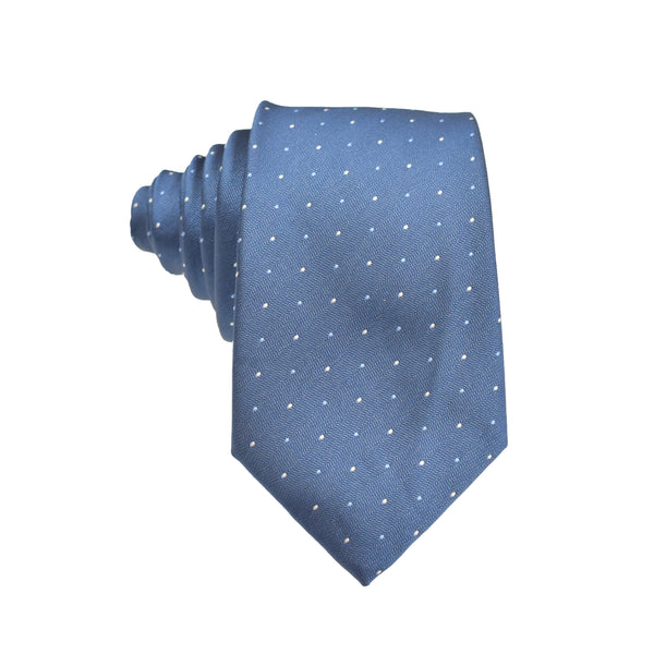 Mens Neck Tie - Navy Blue Micro Polkadot