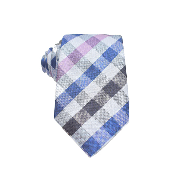 Mens Neck Tie - Pink Multi Checkered