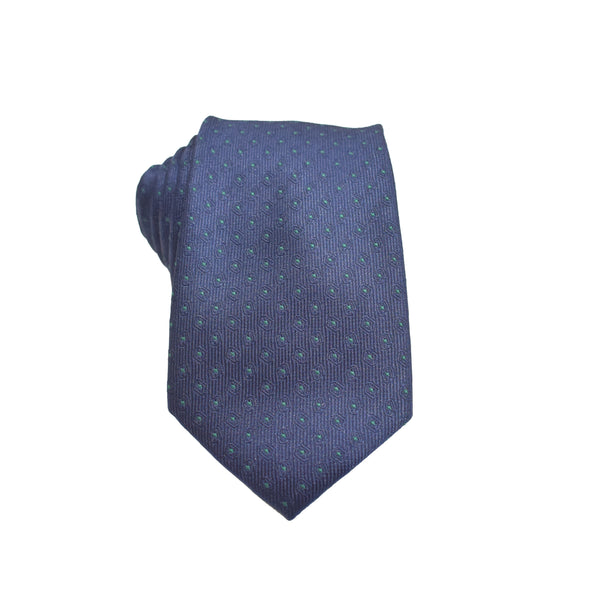 Mens Neck Tie - Navy Green Micro Polkadot