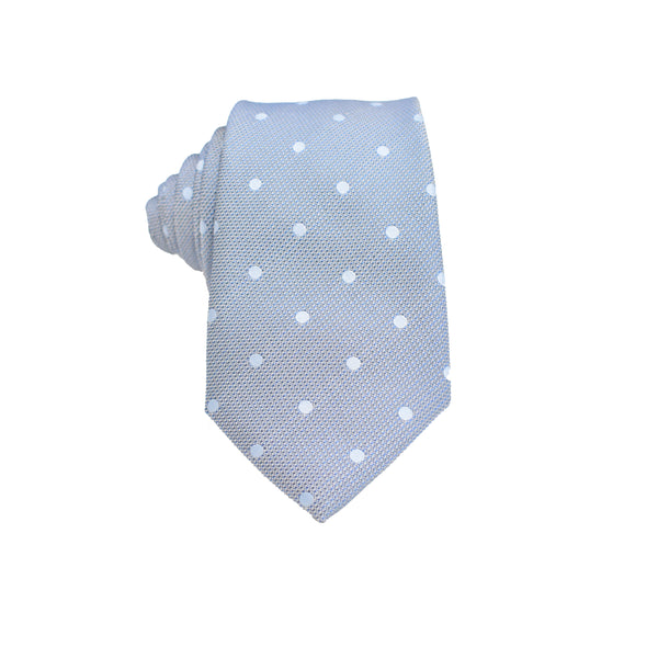 Mens Neck Tie - Stone Grey Blue Polkadot