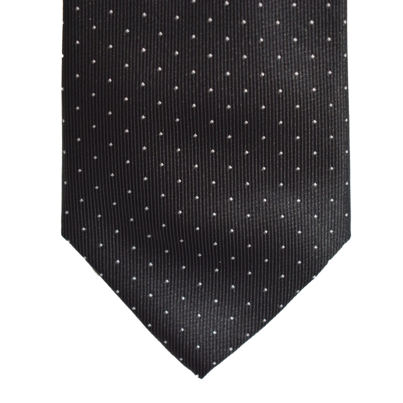 Mens Neck Tie - Black Micro Polkadot