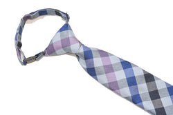 Boys Neck Tie - Pink Multi Checkered