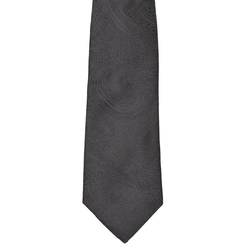 Boys Neck Tie - Black Paisley