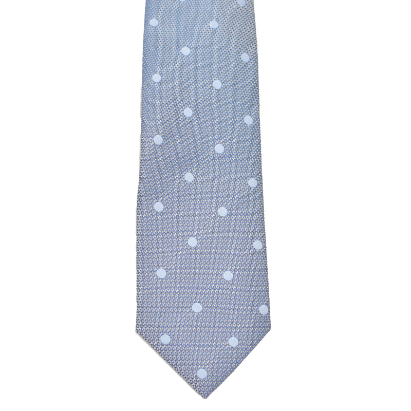 Boys Neck Tie - Stone Grey Blue Polkadot