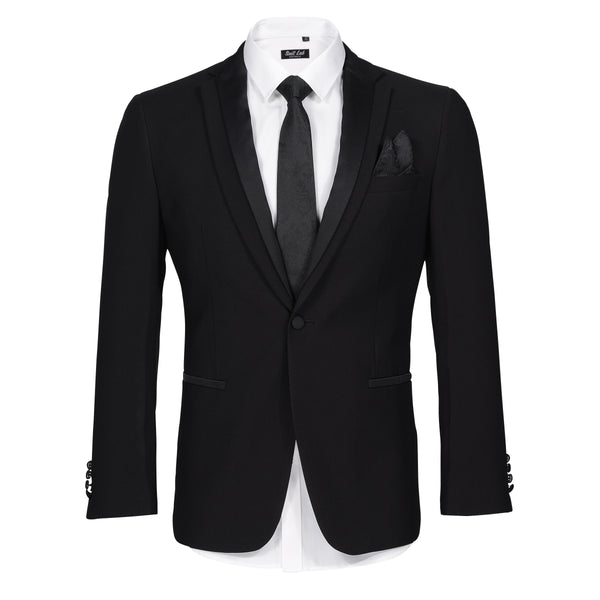 Mens Matte Black Suit with Satin Lapel