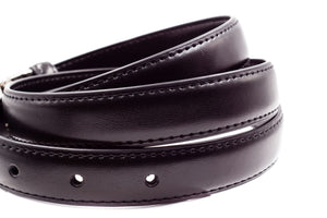 Baby / Boys / Men Leather Belt - Black Flat Buckle