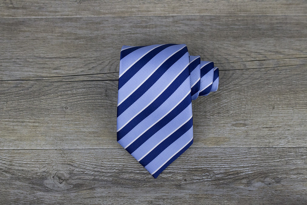 Blue with Navy/White Stripes Tie