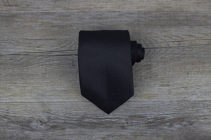 Black Mini Checkered Pattern Tie