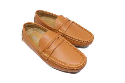 Boys Leather Loafers - Tan