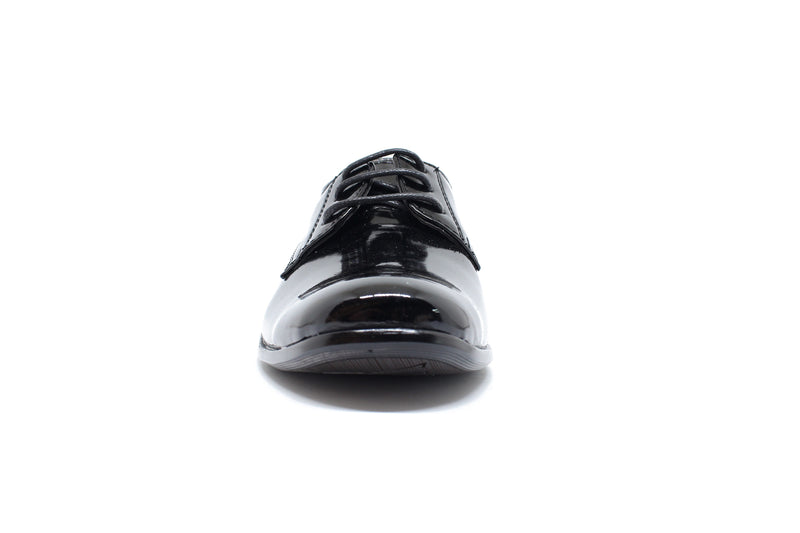 Boys Shiny Patent Black Lace Up Shoes
