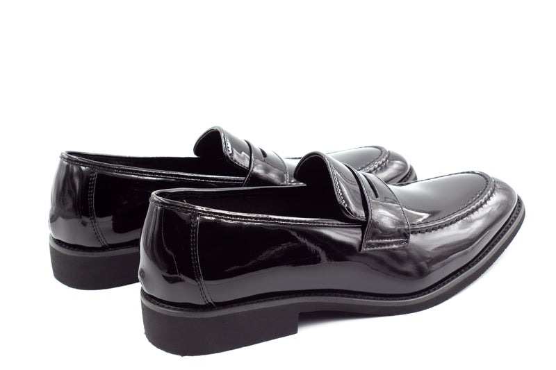 Mens Patent Black Penny Loafers