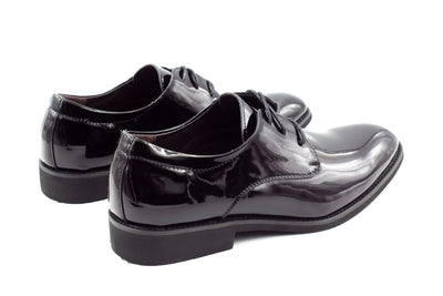 Mens London Derby Shoes - Patent Black