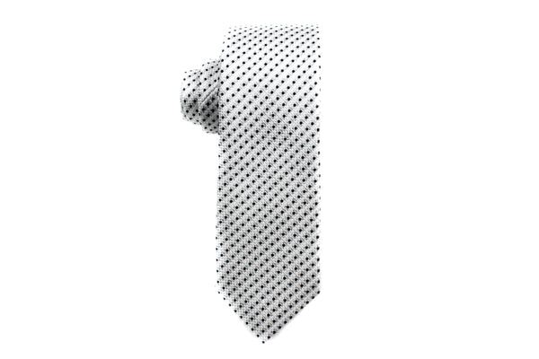 Shiny Silver with Black Polka Dots Skinny Tie