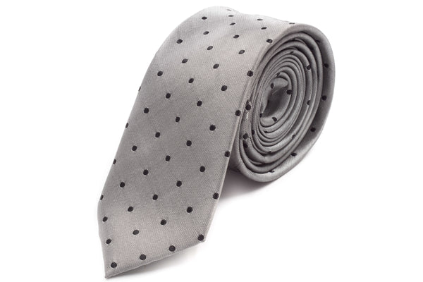 Grey with Navy Polka Dots Skinny Tie