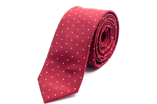 Burgundy with White Polka Dots Skinny Tie