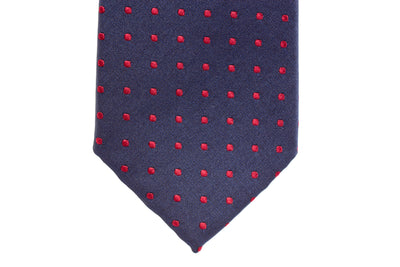 Navy with Burgundy Polka Dots Skinny Tie
