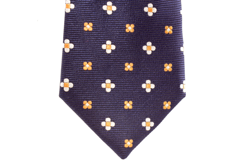 Navy with White/Orange Polka Dots Skinny Tie