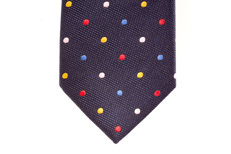 Navy with Multi-colour Polka Dots Skinny Tie