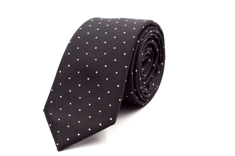 Black with White Polka Dots Skinny Tie
