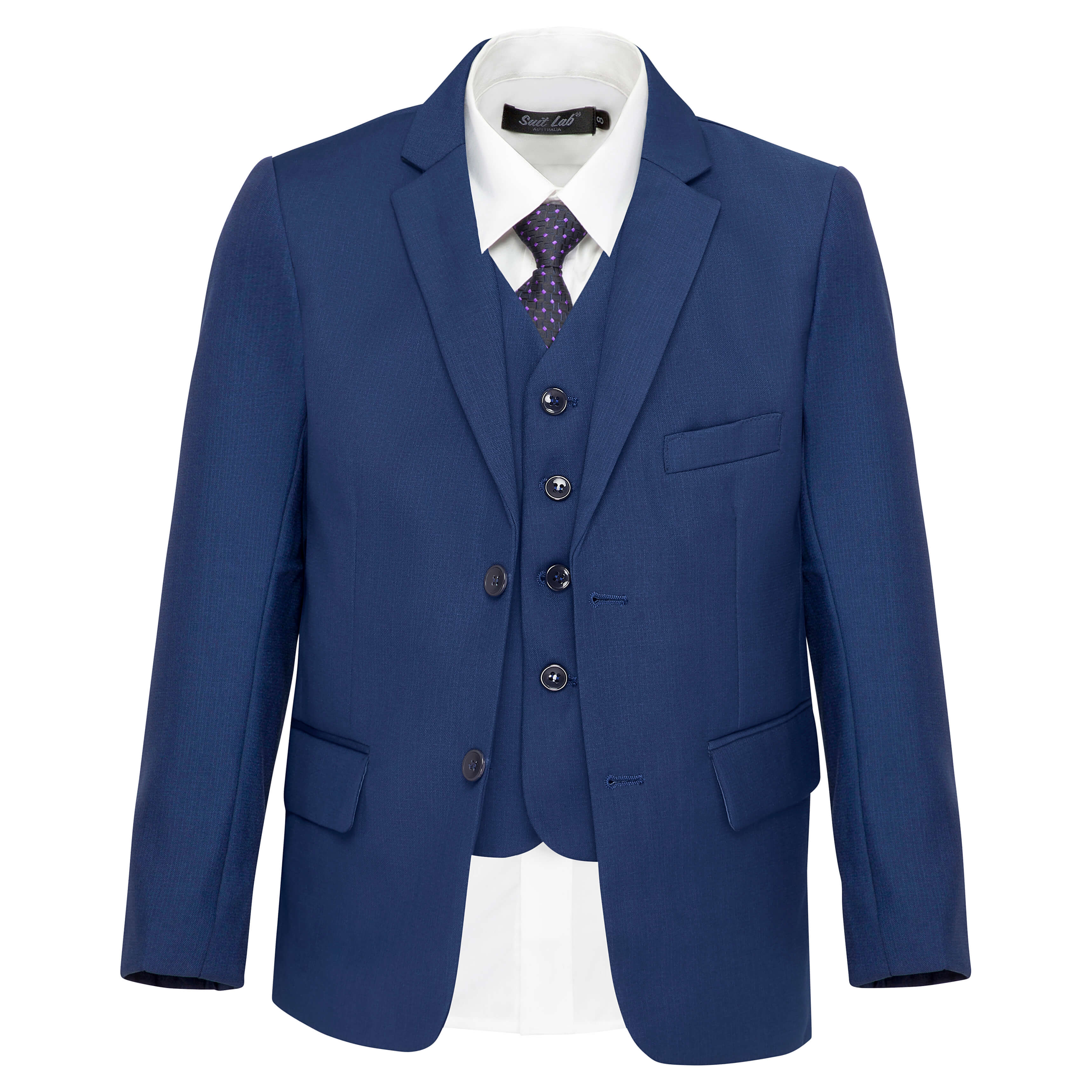 Boys' Matte Navy Blue Suit