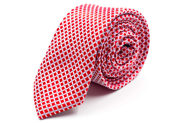 Red Checks Skinny Tie