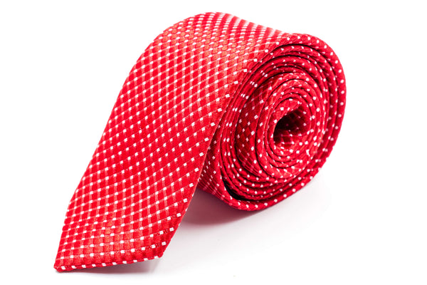 Bright Red Polka Dot Skinny Tie