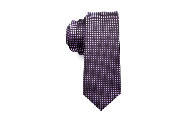 Black with Purple Polka Dots Skinny Tie