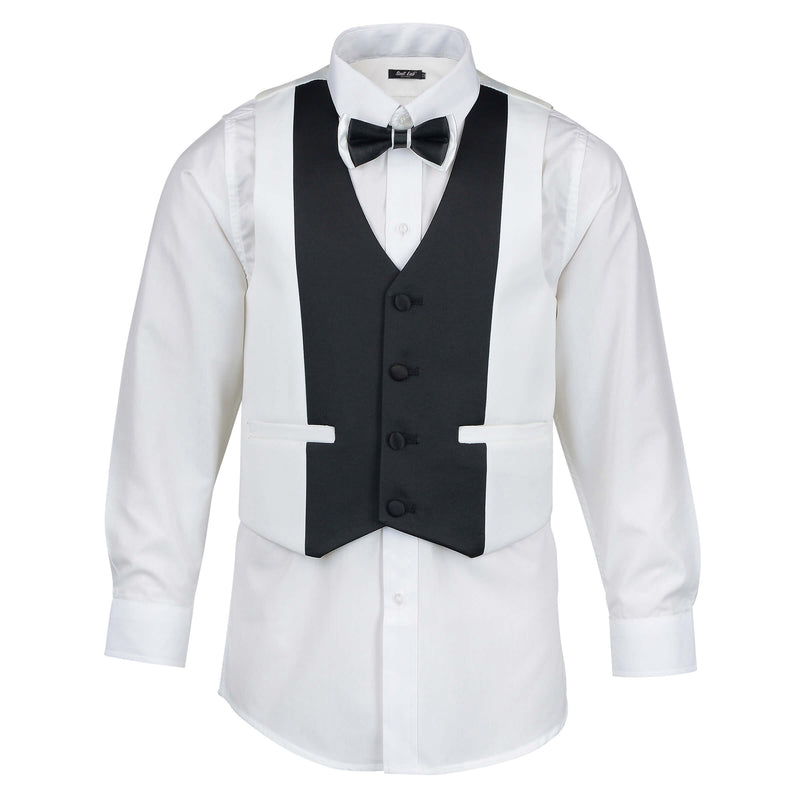 Boys Off White Tuxedo with Black Lapel + Off White Pants