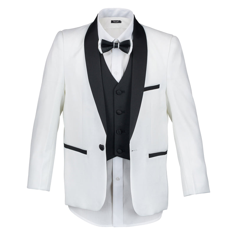 Boys Off White Tuxedo with Black Lapel + Black Pants
