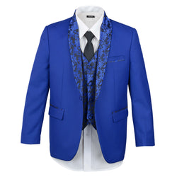 Boys Royal Blue Tuxedo Embroidery Shawl Lapel