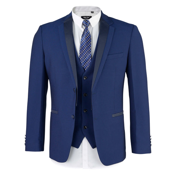 Mens Matte Navy Suit with Satin Lapel