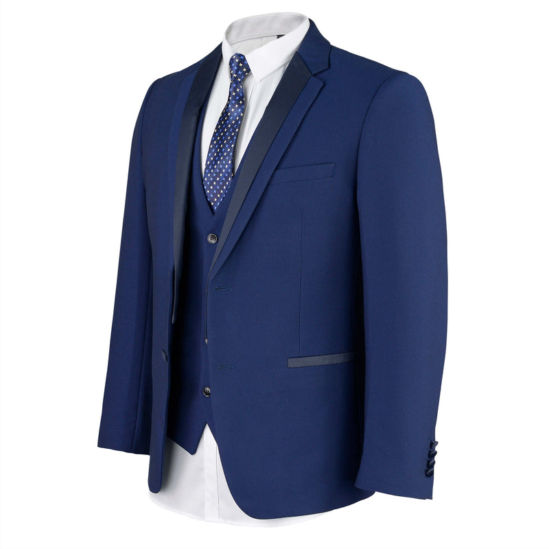 Matte Navy Satin Lapel Mens Suit